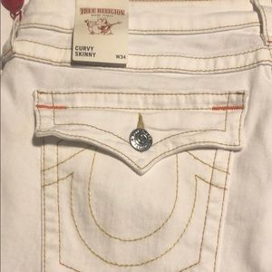 True Religion White Jeans with Flap Pockets